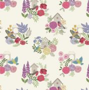 Lewis & Irene Grandma's Garden - 5295 - Floral, Birdhouses on Cream  - A198.1 - Cotton Fabric